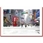 Snow on Times Square Ticket Line – Handmade Photo Card