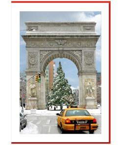 Yellow Cab at Washington Arch - Handmade Photo Card