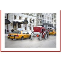 Winter Carriage Ride at Central Park South - Handmade Photo Card