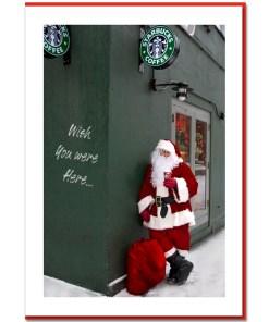 Santa Drinking Starbucks Coffee - Handmade Photo Card