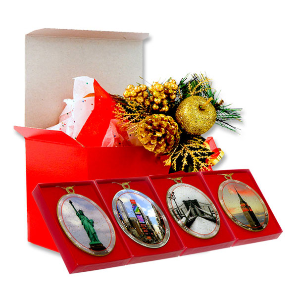 New york city landmarks christmas ornaments gift set for Gifts for new yorkers