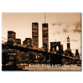 WTC and Brooklyn Bridge Night New York Photo Magnet