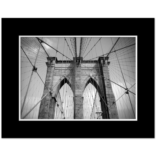 Brooklyn Bridge Ropes Horizontal New York Art Print Poster Matted Black