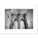 Brooklyn Bridge Ropes Horizontal New York Art Print Poster Matted White