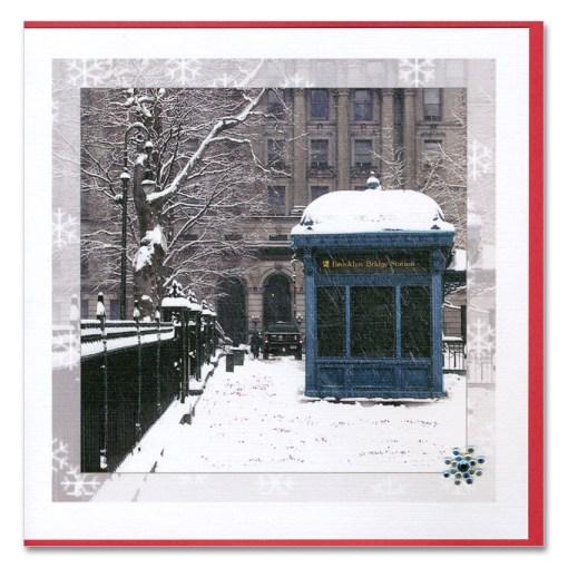 Brooklyn Bridge Subway Station Handmade Holiday Card HHC9359 from NY Christmas Gifts