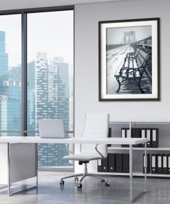 Bench Show Brooklyn Bridge Art Print Poster BW Blue White Office