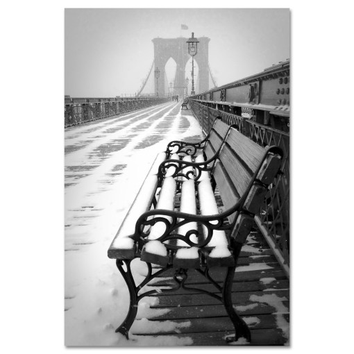 Bench Brooklyn Bridge Snow New York Art Print MP-1151