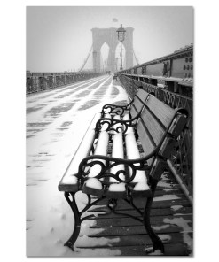 Bench Brooklyn Bridge Snow New York Art Print MP-1151