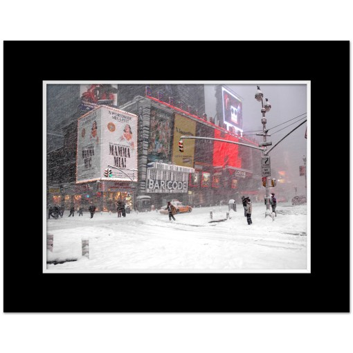 Blizzard on Times Square Art Print Poster MP-1050 Black Mat