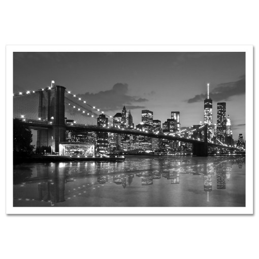 Brooklyn Bridge Night Panorama Reflection New York Art Print Black and White