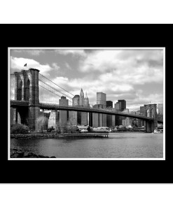 Brooklyn Bridge Panorama New York Art Print Poster MP-1007 Mat Black