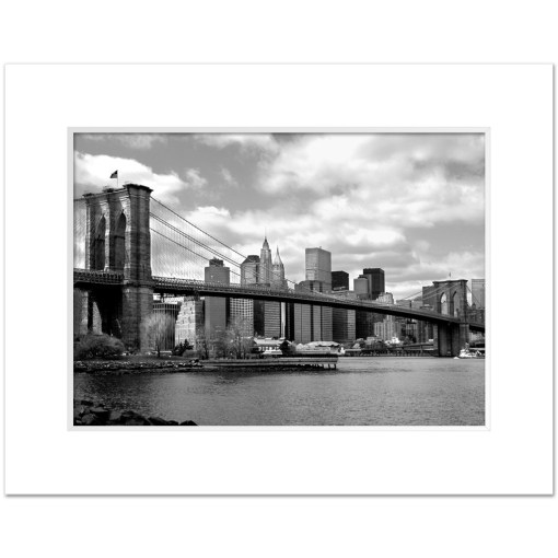 Brooklyn Bridge Panorama New York Art Print Poster MP-1007 Mat White