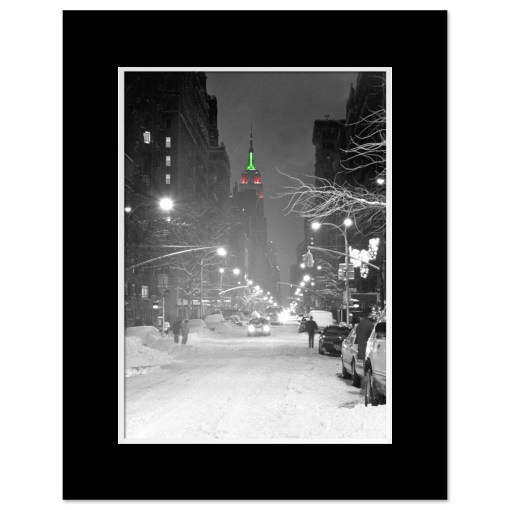Empire State Building Christmas New York Art Print Poster MP-1149 Mat Black