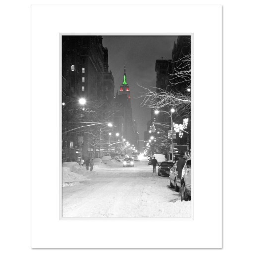 Empire State Building Christmas New York Art Print Poster MP-1149 White Mat