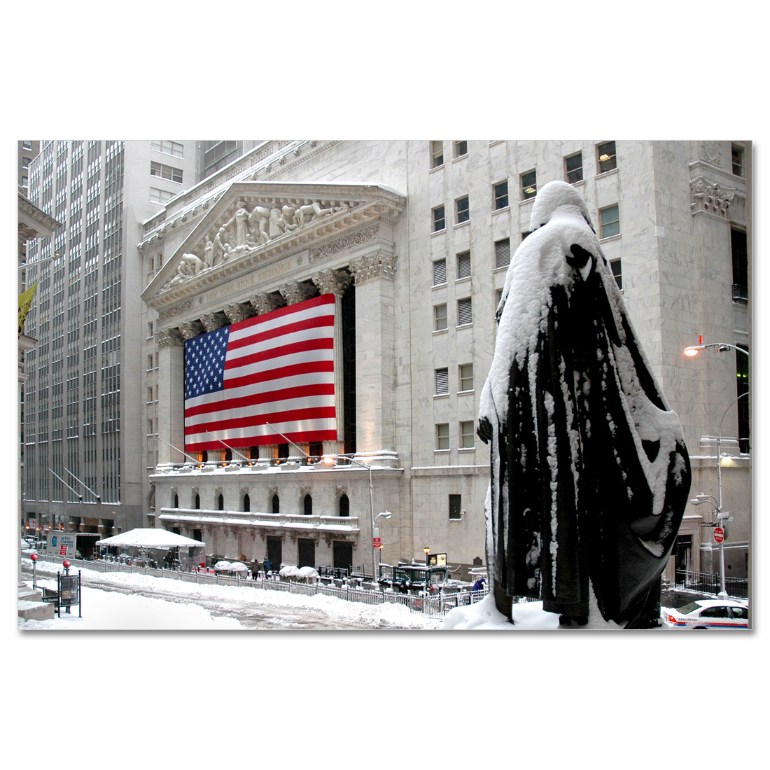 Wall Street Gifts George Washington At Wall Street Winter New York Art Print Mp2116