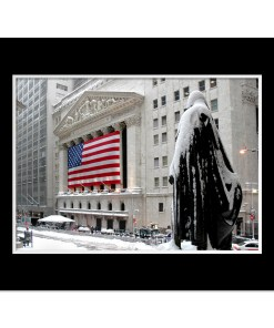 George Washington Wall Street Winter Art Print Poster MP-2116 Mat Black