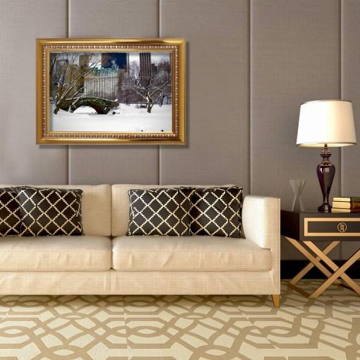 Love Bridge Central Park NY Art Print Poster Biege Gold Room Decor