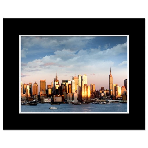 Midtown Sunset Panorama Art Print Poster NYC MP-2134 Black Mat