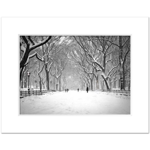 Snow on Poet Walk Central Park Art Print Poster NY MP-1146 Mat White