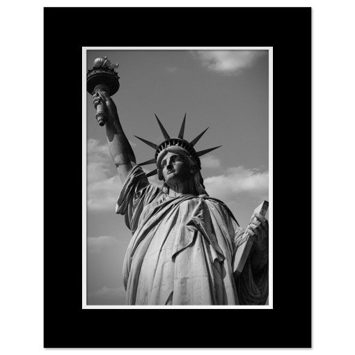 Statue of Liberty Black and White Art Print Poster MP-1170 Black Mat