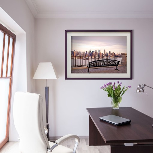 View Bench Midtown Manhattan New York Art Print Poster Office Decor