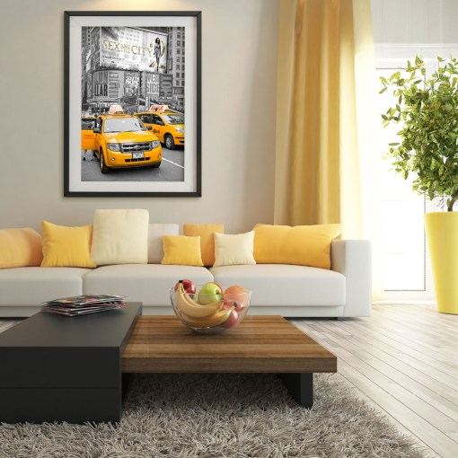 Yellow Cabs on Times Square II Art Print Poster Yellow Room Decor