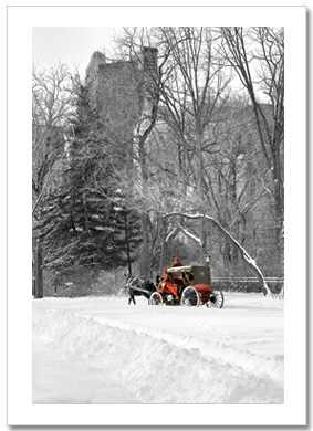 Red Carriage Central Park Snow NY Christmas Card HPC2852