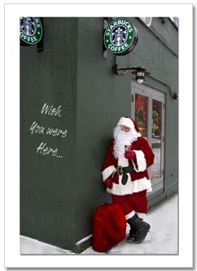 Santa Drinking Starbucks Coffee NY Christmas Card HPC-2983