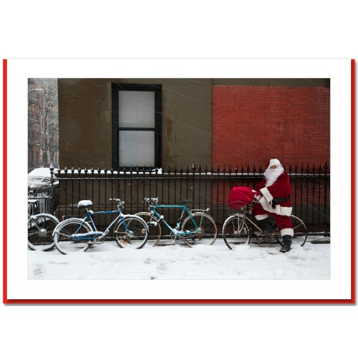 Santa on Bicycle Handmade Photo Card HPC2467