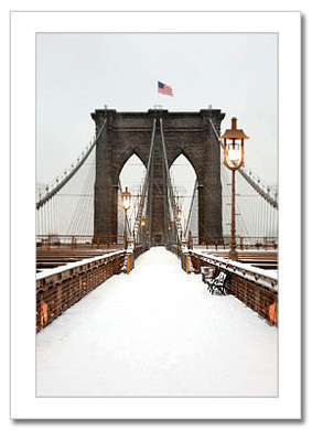 Brooklynv Bridge Snow NY Christmas Card HPC-2977