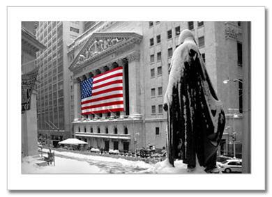 Snow on Wall Street NY Christmas Card HPC-2427