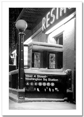 West 4 Subway Station BW NY Christmas Card HPC-2829