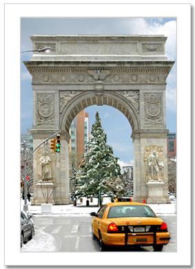 Yellow Cab Washington Arch Winter NY Christmas Card HPC-2492