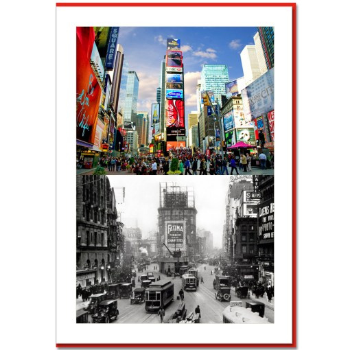 Times Sqaure North Now and-Then NY Christmas Cards HPC2245