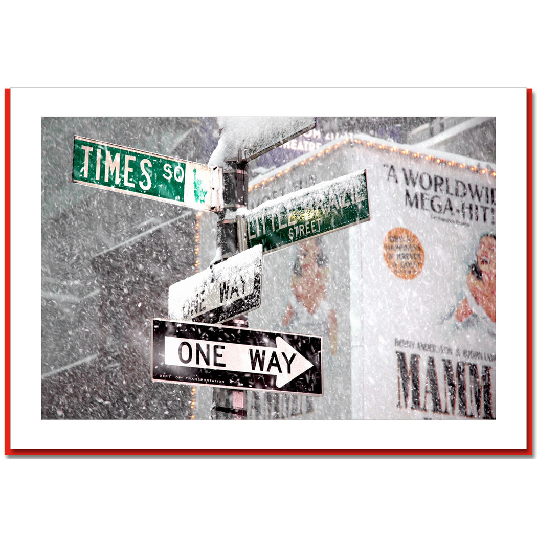 Times Square Signs Snow – NY Christmas Photo Card