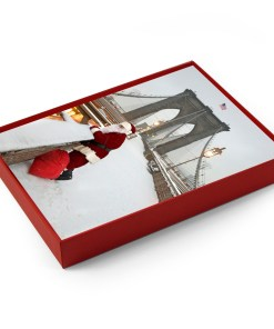 BMC3215 Santa watching Traffic on Brooklyn Bridge Holiday Boxed Cards from NY Christmas Gifts