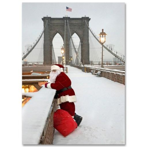 BMC3215 Santa watching Traffic on Brooklyn Bridge Holiday Boxed Cards from NY Christmas Gifts