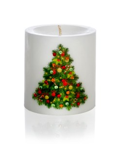 Decorated Christmas Tree Hand-printed Luxury Christmas Pillar Candle 3x3