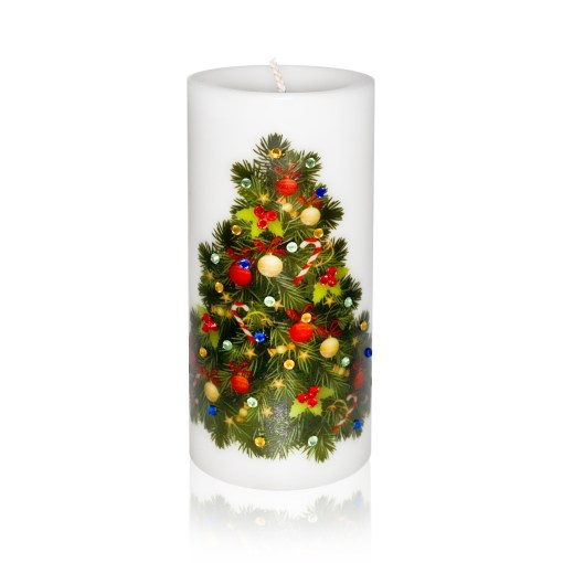Decorated Christmas Tree Luxury Christmas Pillar Candle Hand-printed Rhinestones 3x6