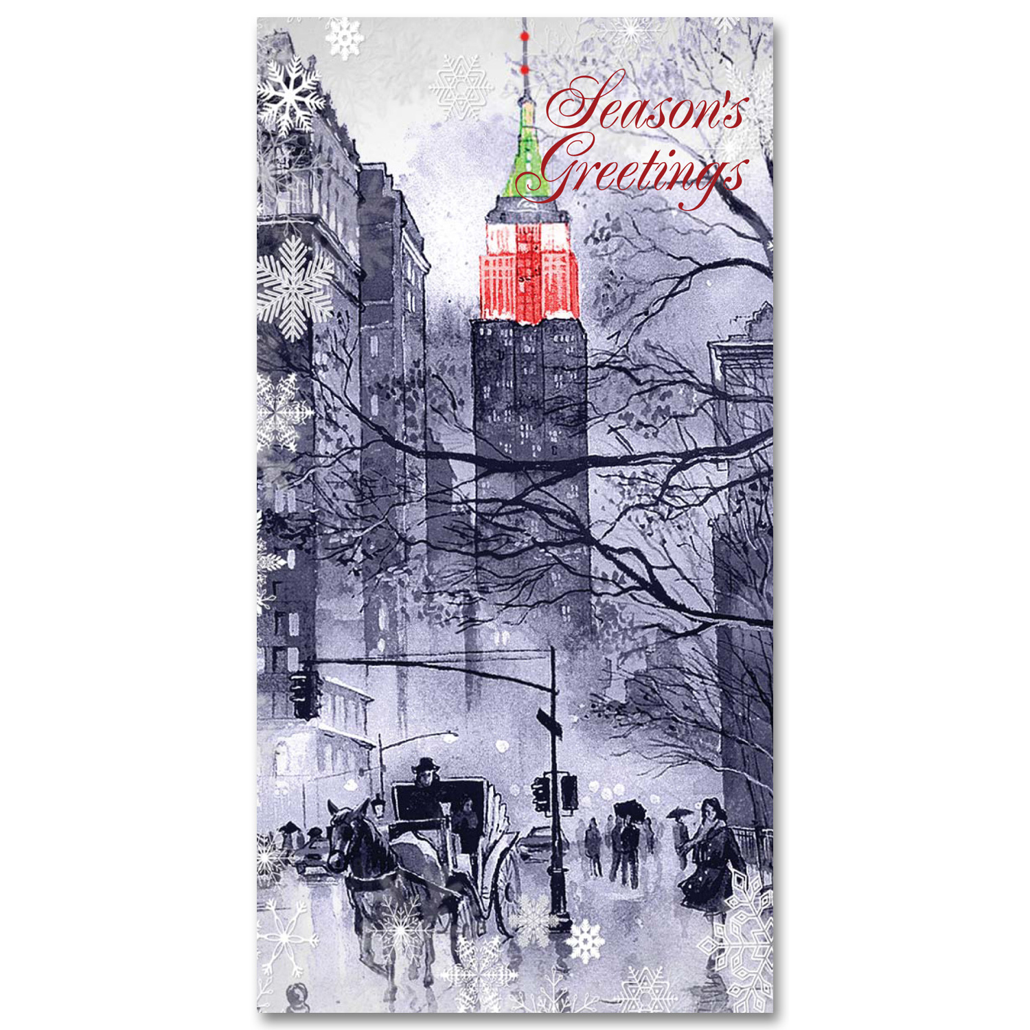 Carriage at Empire State Building on Christmas – Holidays Money Greeting Cards Holders Set of 6