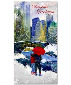 MCH-3259 Couple at Love Bridge in Central Park NYC Christmas Money Card Set of 6 from NY Christmas Gifts