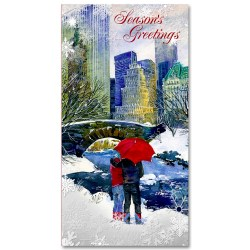 Couple at Love Bridge in Central Park – Holidays Money Greeting Cards Holders Set of 6