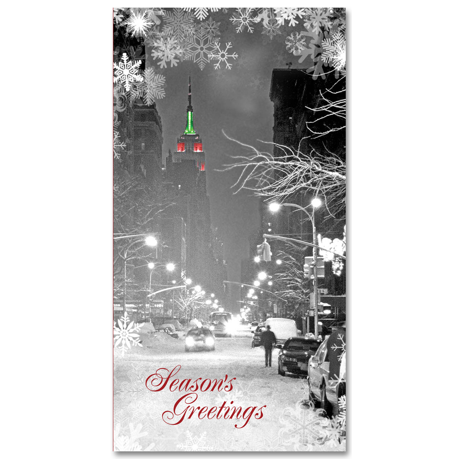 Empire State Building Christmas Light Holidays Money Greeting Cards