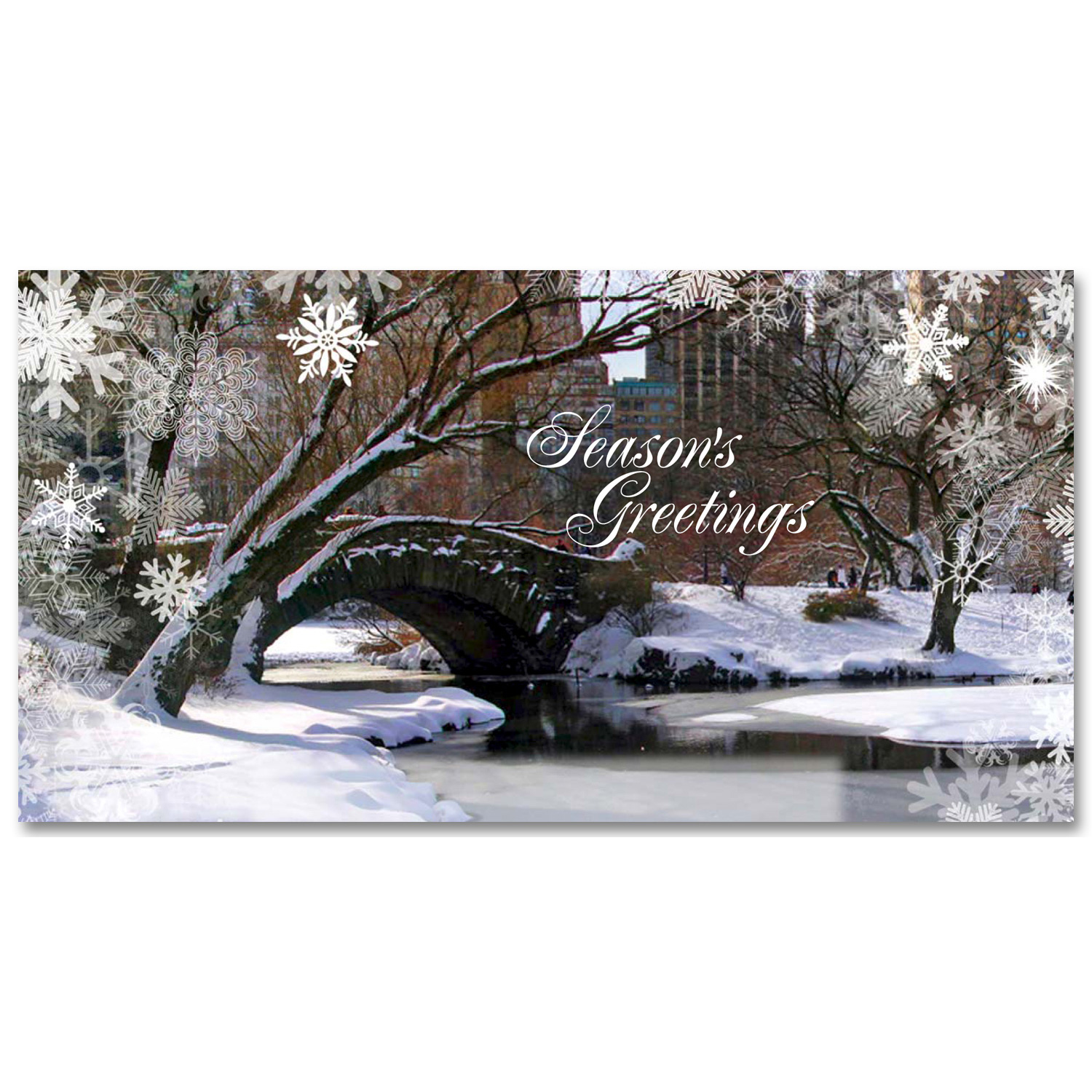 Holidays Money Greeting Cards Holders – Love Bridge Panorama in Central Park –  Set of 6 Cards, 6 Envelopes. Holidays in NYC Collection