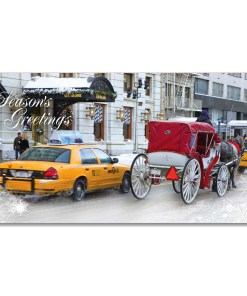 MCH-3816 White Carriage at Central Park NYC Christmas Money Cards Set from NY Christmas Gifts