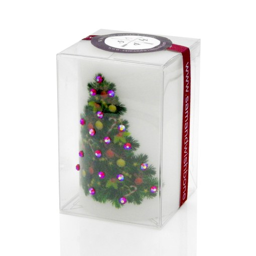 Merry Christmas Decorated Tree Luxury Candle 2x3 by Sam & Wishbone from NY Christmas Gifts boxed