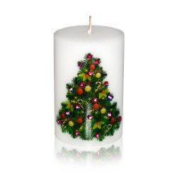Merry Christmas Decorated Tree Luxury Candle 2×3 by Sam & Wishbone from NY Christmas Gifts