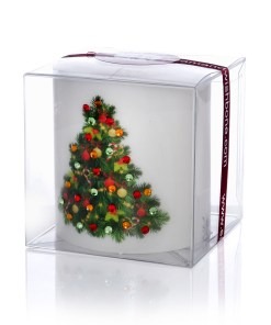 Decorated Christmas Tree Luxury Christmas Pillar Candle Hand-printed Rhinestones 3x3 box