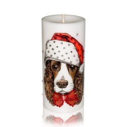 Luxury New Year of the Dog Pillar Candle – English Springer Spaniel Gift Candle Hand-printed with Rhinestones