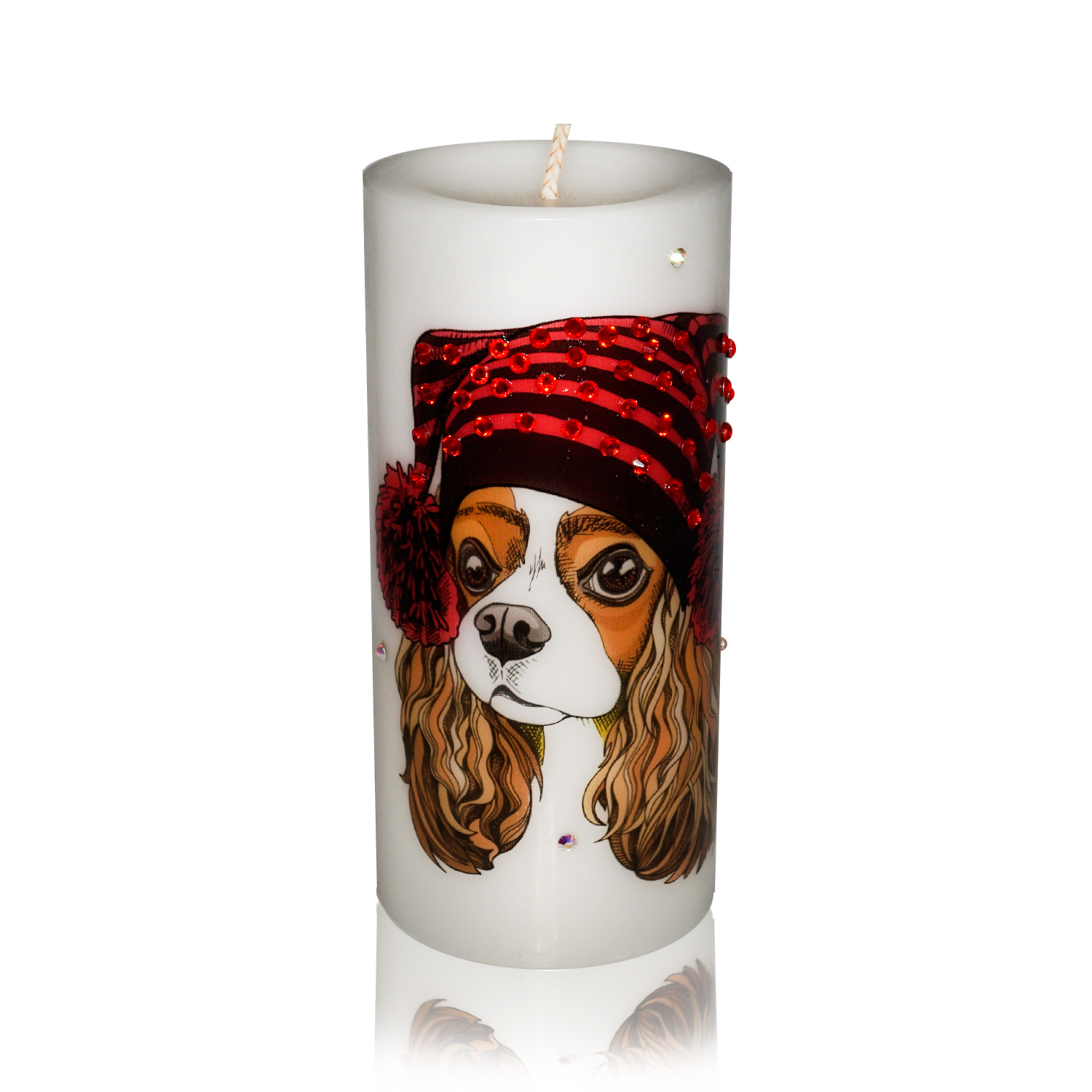Luxury New Year of the Dog Pillar Candle – Cavalier King Charles Spaniel Gift Candle Hand-printed with Rhinestones
